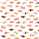 Sushi, roll repeating seamless seafood pattern. Watercolor