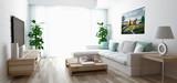 Soggiorno moderno con divano, televisore e parquet