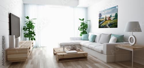 GamesAgeddon - Soggiorno moderno con divano, televisore e parquet ...