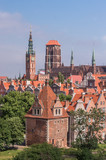 Historical center of Gdansk, town hall and St. Mary's Church