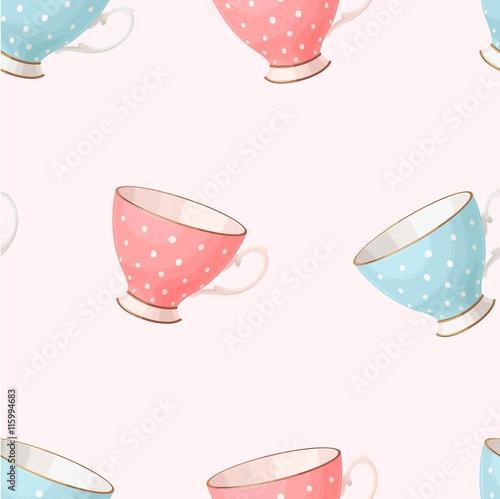 Cotton fabric Seamless vintage teacups