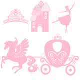 Cinderella  S Crown  Illustration Design Elements For Little Princess Glamour Girl Cards For Birthday Wedding Invitation The Carriage The Palace Pegasus Dancing Tiara Wall Sticker
