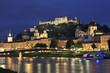 Salzburg skyline at dusk, Austria, Europe