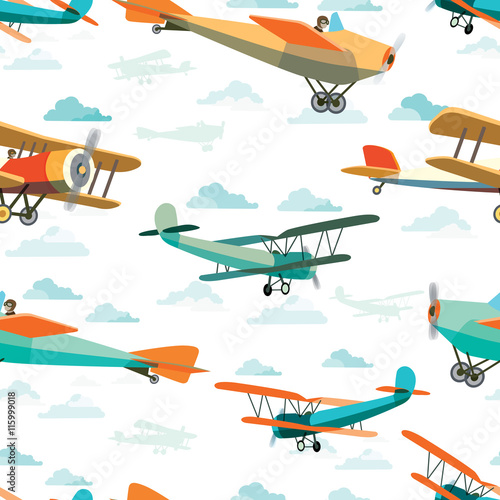 Cotton fabric Seamless pattern from Retro Airplanes