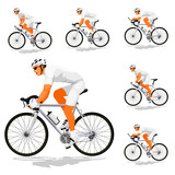 """Basic road cyclist (Silver transmission) without patternfor creating your own variation 116115964,Man is pointing and girl is looking there"""""""