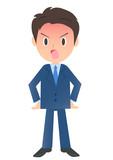 少し怒るビジネスマン、男性会社員のイラスト素材、三頭身