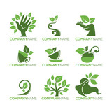 Eco and Bio Concepts Collection, Organic Food and Beauty Logo