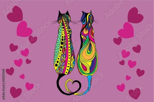 Naklejka Cute doodle cat. Vector hand drawn kitten with decorative ornament.