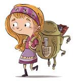 niña con mochila de colegio