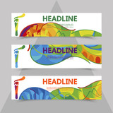 Rio 2016 Olympics flyers with abstract background.