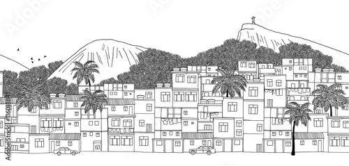 Rio de Janeiro, Brazil - seamless banner of Rio's skyline, hand drawn black and white illustration