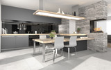 Küche, Küchenzeile mit Essbereich und Kamin - 116020060
