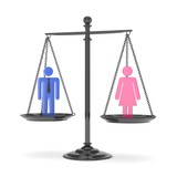 Isolated old fashioned pan scale with man and woman on white background. Gender inequality. Equality of sexes. Law issues. Colorful model. 3D rendering.