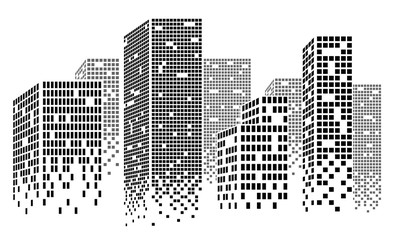 Dotted Skyscrapers Panorama - Buildings and City Illustration, Vector