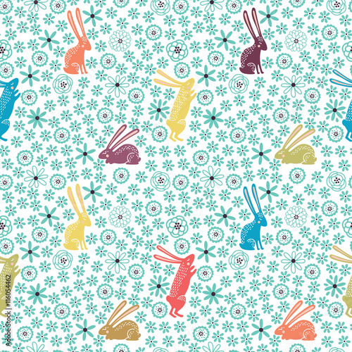 Materiał do szycia Seamless floral pattern with cute little rabbits