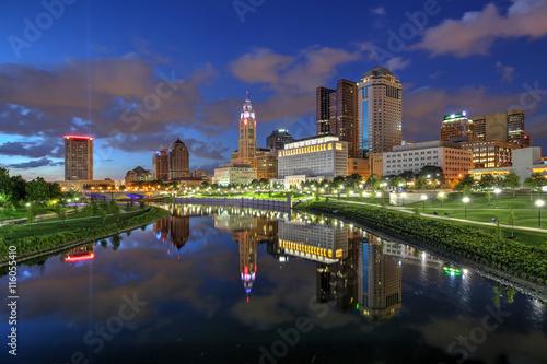 Scioto River and downtown Columbus Ohio skyline at John W Poster