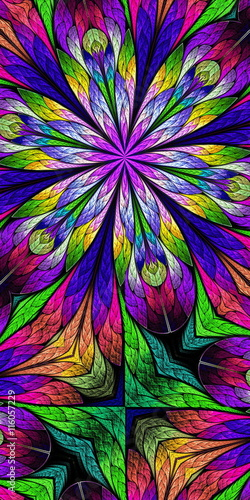 Naklejka Multicolored flower pattern in stained-glass window style. You c