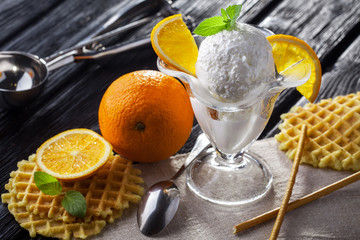Ice Cream with orange, Mint and waffles.