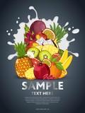 Fruit mix composition in milk splash vector illustration