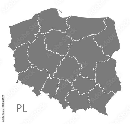 Mapa Polski z regionami szare