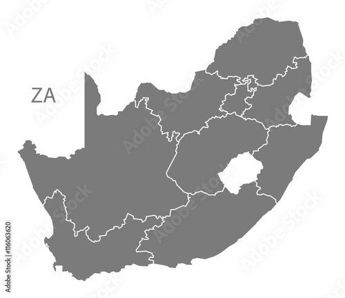 South Africa Map with provinces grey