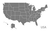 USA Map with federal states grey - 116063856