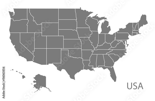 USA Map with federal states grey Poster