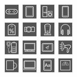 Gadgets, appliances, monochrome contour icons, gray.