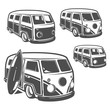 Set of surf car and surfer bus for emblems ,logo and prints.