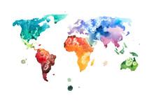 Ręcznie rysowane akwarela akwarela ilustracja mapa świata.