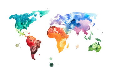 Hand drawn watercolor world map aquarelle illustration.