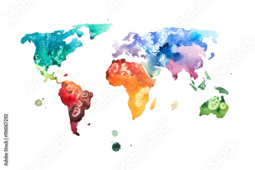 Poster Hand drawn watercolor world map aquarelle illustration.