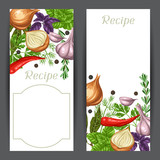 Banners design with various herbs and spices