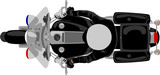 Fototapety Police patrol heavy motorcycle with policeman top view