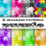 set of seamless patterns puzzle