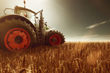 Traktor steht auf Getreidefeld - 116082215