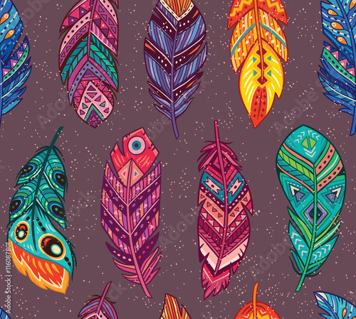 Vector seamless pattern with colored abstract feathers in boho style - 116087801
