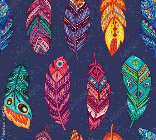 Vector seamless pattern with colored abstract feathers in boho style - 116087821