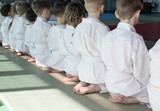 Fototapety Group of children in kimono sitting on tatami on martial arts training seminar. Selective focus