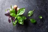 Fresh garden basil herbs in mortar