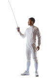 Fencing athlete wins the competition isolated in white background
