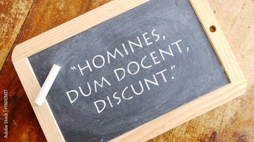 Homines dum docent discunt. A Latin phrase, usually translated into English as
