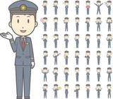 Fototapety 若い駅員男性vol.1(案内・指差し・笑顔など, 様々な表情やポーズのイラストをセット)