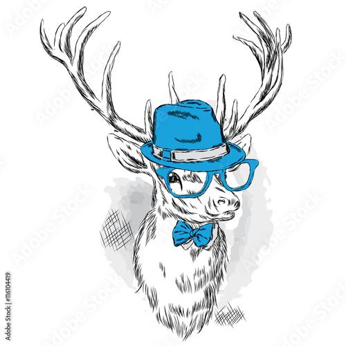 piekne-jelenie-w-kapeluszu-okulary-przeciwsloneczne-i-krawat-ilustracji-wektorowych-dla-karty-lub-plakatu-drukowanie-ubran-i-akcesoriow