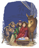 Fototapety Christmas nativity scene with Holy Family. Bible story of the birth of Jesus