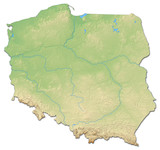 Relief map of Poland - 3D-Rendering