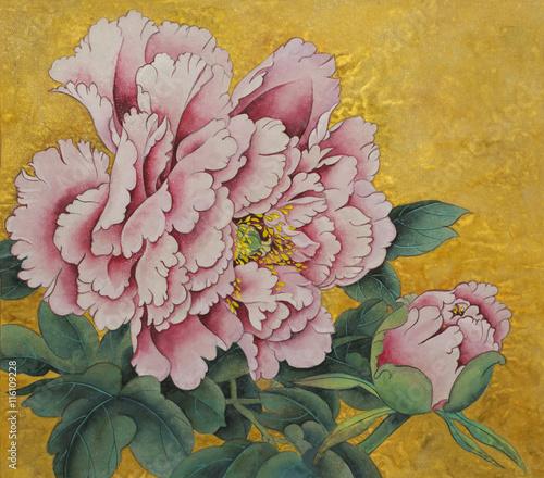 Fototapeta pink peony flower on a gold background