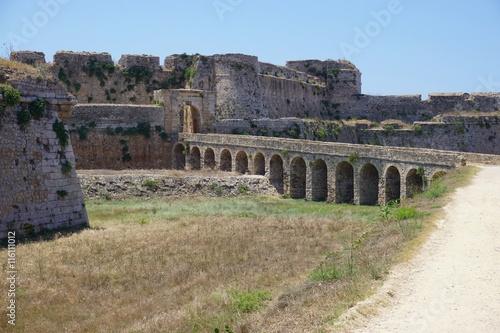 Ruins of the landmark Methoni Castle in Messenia, Greece
