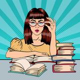 Fototapety Pretty Female Student Reading Books in Library. Pop Art. Vector illustration