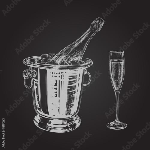 Plakat champagne bottle and glass illustration